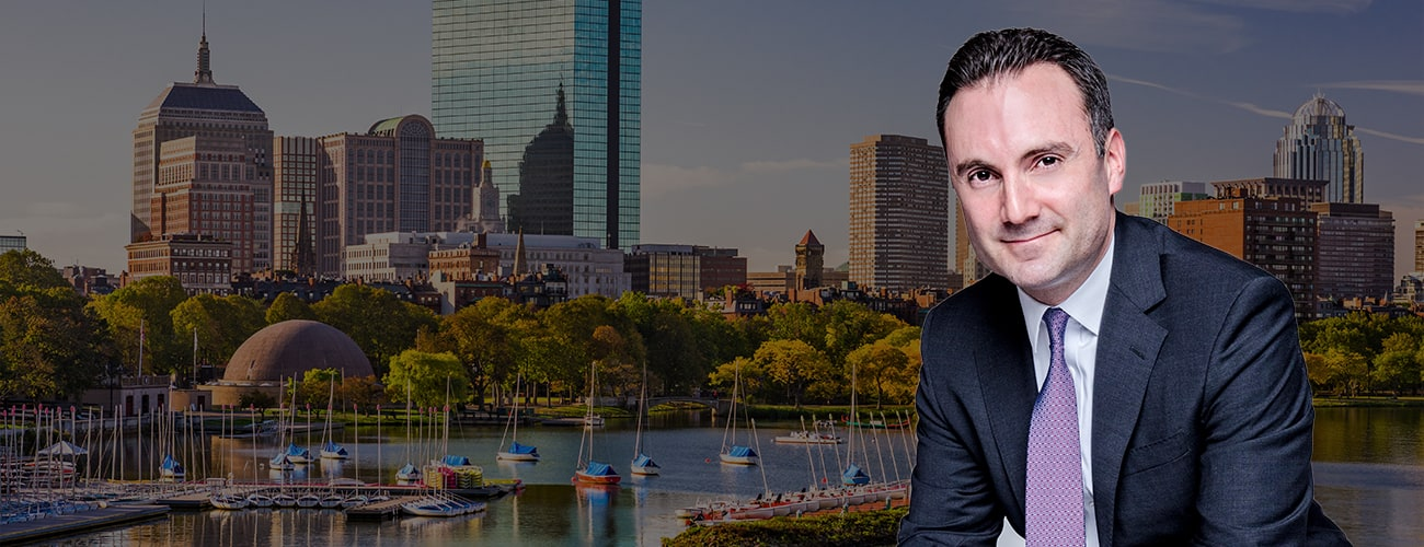 Hero Banner - Attorney Profile Picture over skyline of Cambridge, MA